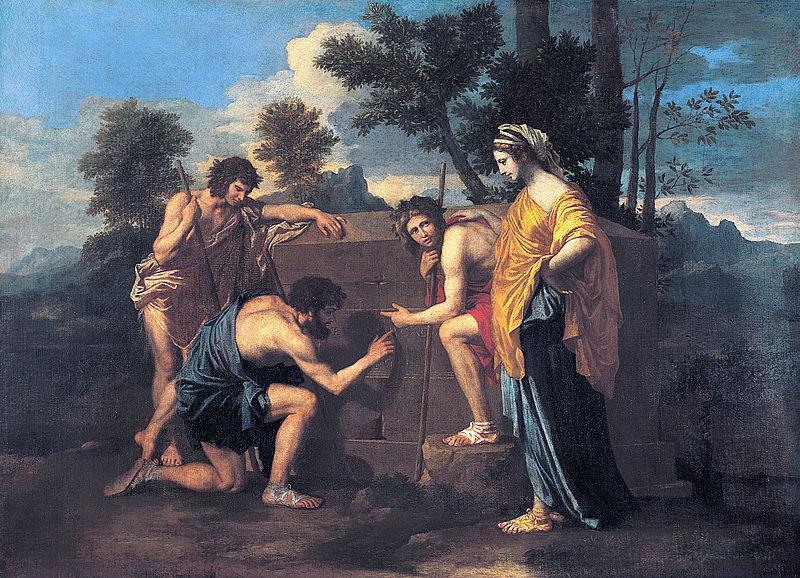 """Ce tableau de Nicolas Poussin """"Et in Arcadia ego"""" illustre l'omniprésence de la mort : la mort est aussi en Arcadie, pays du bonheur."""